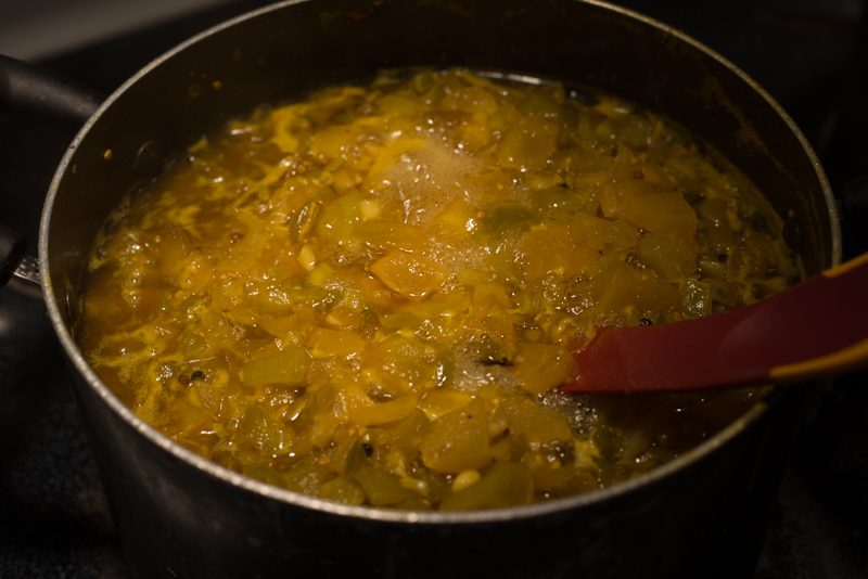 Cooking stage of Green Tomato Picallilli